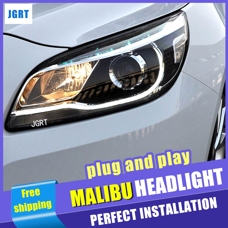 Car Styling Headlight assembly 2011-2014 for Chevrolet Malibu DoubleU Angel Eye LED DRL Lens Double Beam H7 hid kit with 2pcs.