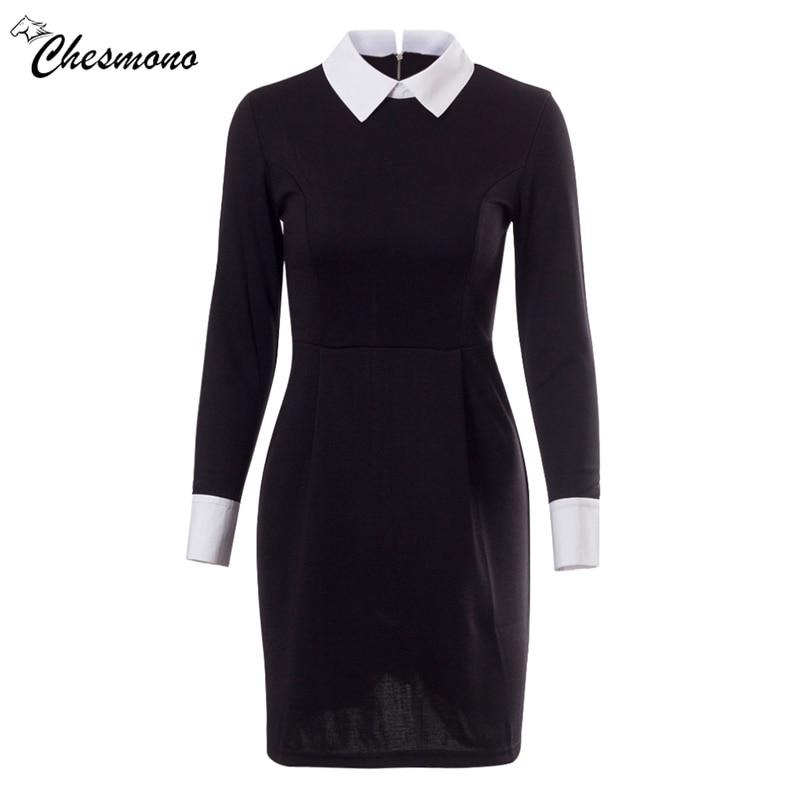 Fashion Autumn Winter Women's Elegant Casual Dress Slim Peter pan Collar Collar Long Sleeve Black Dresses for Women