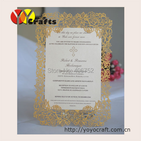 INC34 Customized Rose Design Invitation Card With Printing For Opening Ceremony Special Wedding Menu