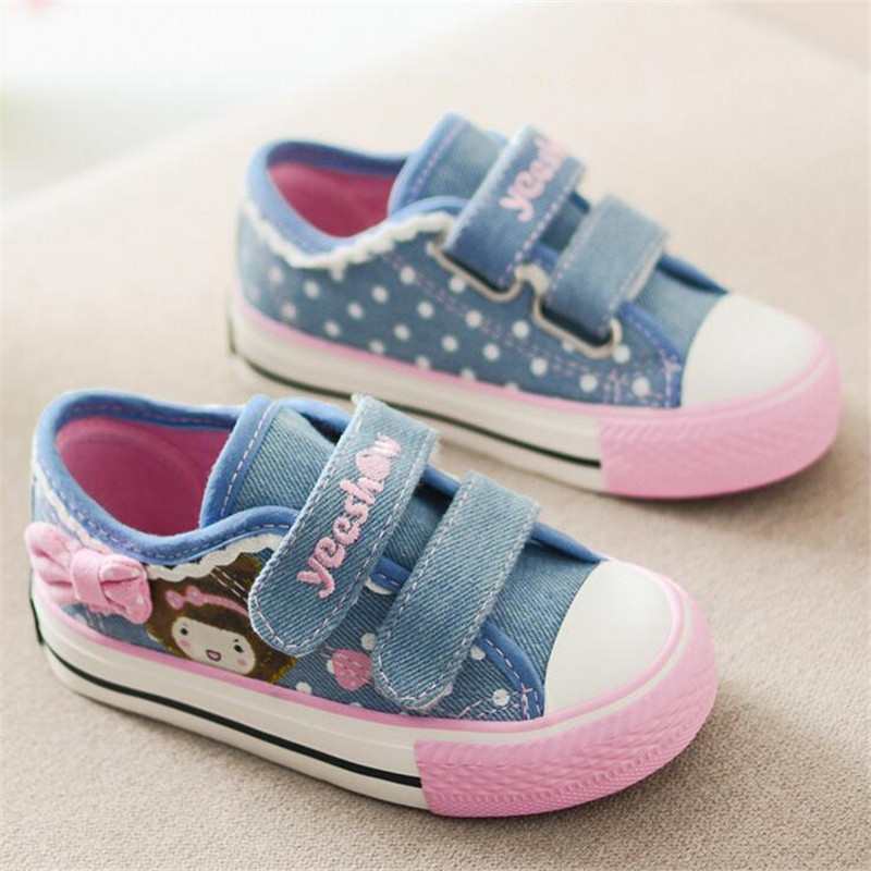 2017 New Children Shoes Low help Bow Girls Canvas Shoes Denim Baby Princess Shoes Kids Breathable