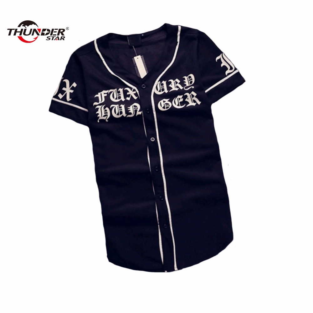 Summer Mens Vintage T shirts 2018 Streetwear Hip Hop baseball jersey unisex printing shirt Men Clothes THUNDER STAR