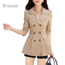 brieuces high quality  spring and autumn new pattern medium length trench coat female slim double breasted loose