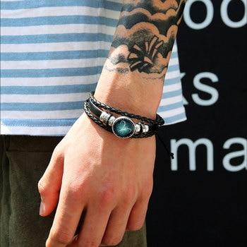 New 12 Constellation Luminous Bracelet Men Leather Bracelet Charm Bracelets 2