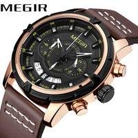 MEGIR Business Waterproof Watch Luminous Hands Leather Strap Top Brand Luxury Men Quartz Analog Clock Calendar