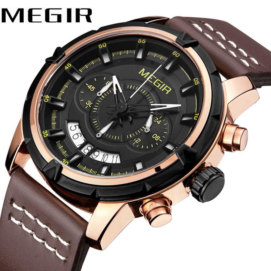 MEGIR Business Waterproof Watch Luminous Hands Leather Strap Top Brand Luxury Men Quartz Analog Clock Calendar Wristwatches все цены