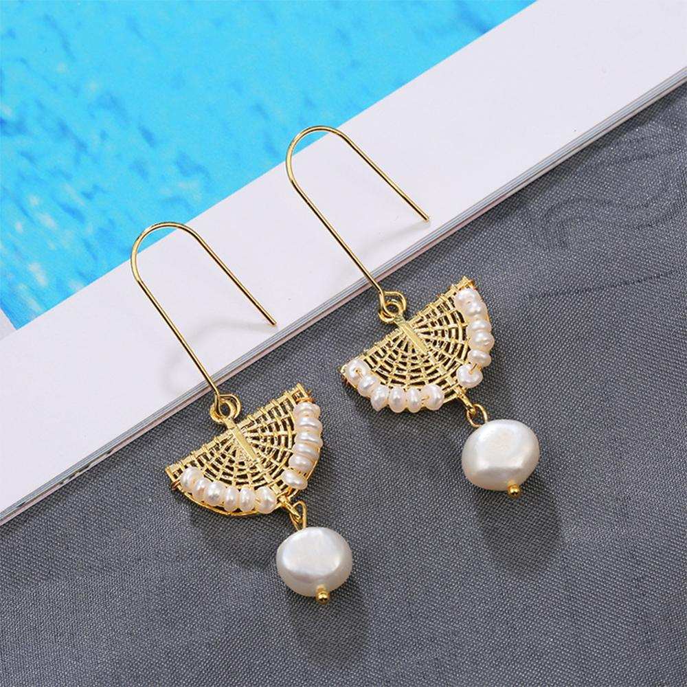 SEVEN GIRL Handmade Scalloped pearl Drop Earring Natural Freshwater Pearl Earrings For Women Wedding Party Fine Jewelry
