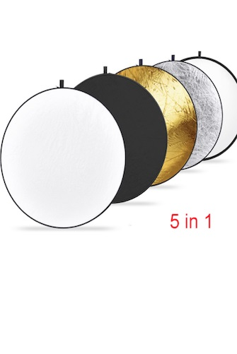 5-EN-1 (43 '') Or, Argent, Blanc, noir Photographie Pliable Réflecteur de Lumière, Haute Qualité Studio Accessoire