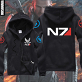 NEW Mass Effect 3 N7 Paragon inspired man's gamer Zip-Up Hoodie game team zipper hoody warm & cozy outwear casual quick shipping
