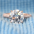 Queen brilliance def color de 3 quilates de compromiso ct anillo de diamante de moissanite con acentos de diamante real 14 k 585 de oro rosa