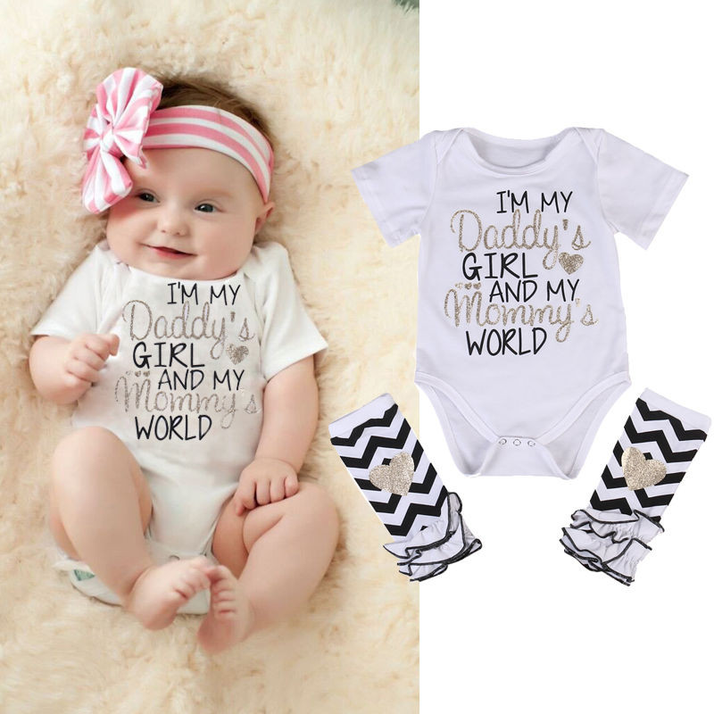 Pudcoco Cute Infant Newborn Baby Girl I'm Daddy Girl Letter Print Romper Bodysuit+Leg Warmer Outfits Clothes Set 3pcs set cute newborn baby girl clothes 2017 worth the wait baby bodysuit romper ruffles tutu skirted shorts headband outfits