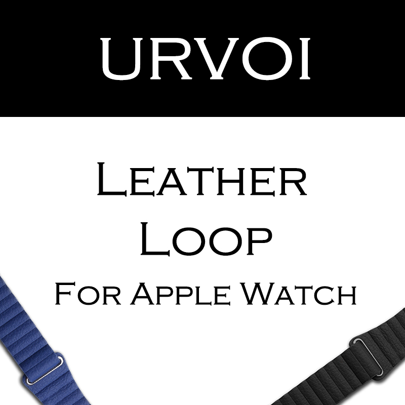 URVOI Leather loop for apple watch series 3 2 1 band for iwatch comfortable feel soft leather strap with magnet buckle polar loop 2 pink