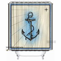 VIXM Fabric Retro Lucky Anchor Shower Curtain Nautical Blue Bath Curtain for Bathroom