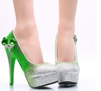 Green silver patchwork crystal rhinestones womens wedding shoes super high heels platforms brides ladies party pumps shoe HS147
