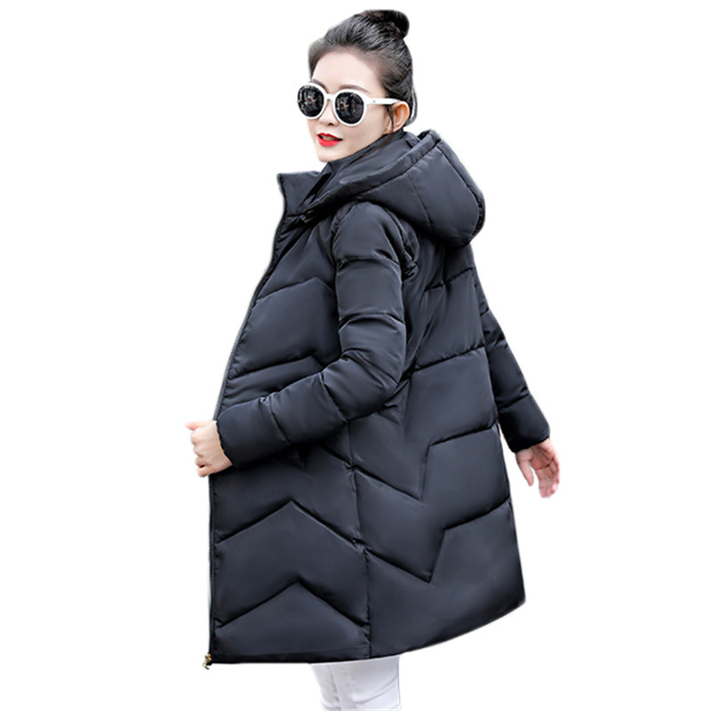 Winter Coat Women Black White M-3XL Plus Size Hooded Parkas 2019 Autumn Korean Office Wine Red Long Thick Jackets Feminina CX940