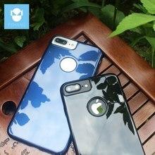 FSHANG Cobertura Móvel Para o iphone 7 Caso Espelho de Brilho Preto para Apple iPhone 7 Mais 7 Mais Acessórios Do Telefone Brilhante Bumper saco