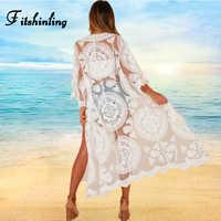 Fitshinling 2019 Summer beach kimono long cardigan swimwear bohemian holiday lace cover-up sexy hot white bikini outer cover new