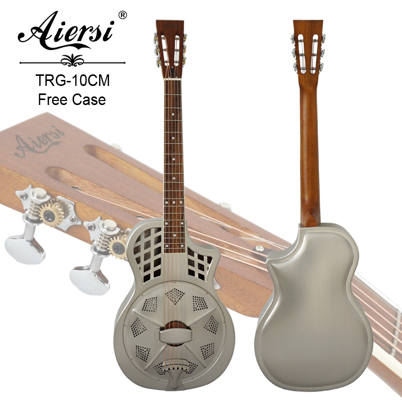 Aiersi Brand Vintage Chrome brass Body Cutway Parlour Resonator Guitar With Free Guitar case and strap
