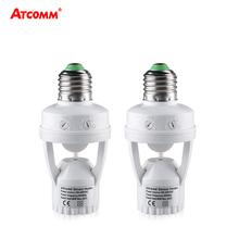 100-240V gniazdo E27 konwerter z czujnikiem ruchu PIR ampułka LED E27 podstawa lampy inteligentne światło żarówki przełącznik tanie tanio ATcomm Oprawka converter Plastic