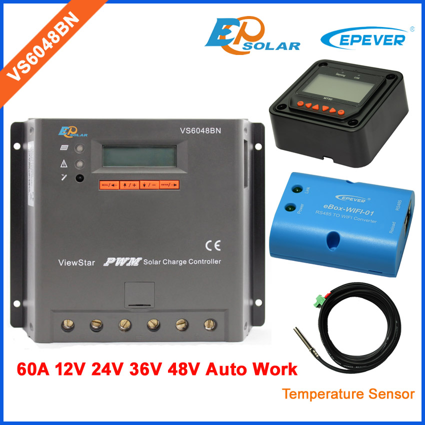 60A 60amp Solar intelligent controller VS6048BN PWM 36v 48v auto work LCD Display Screen wifi BOX temperature sensor and MT50 20a solar power bank charging controller tracer2215bn temperature sensor and bluetooth function 20amp 12v 24v auto work
