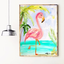 Tropical Flamingo And Plants Canvas Art Print Painting Poster Wall Pictures For Living Room Decor Home Decorative No Frame