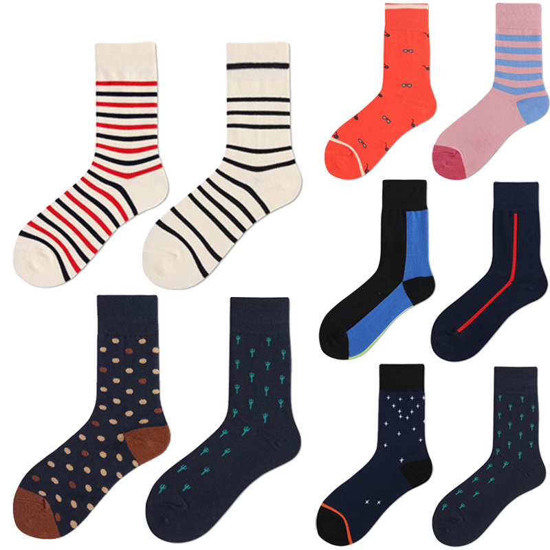 New Trend Men Funny Colorful Combed Cotton Socks Stripes Cactus Dot Pattern Happy Socks Dress Wedding Socks Business Casual Gift