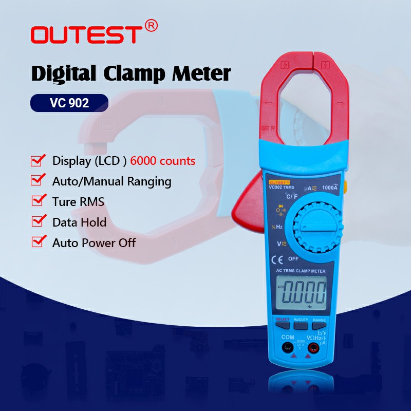 LCD Auto Range Digital Clamp Multimeter VC902 Multifunctional Voltmeter Ammeter Ohmmeter AC DC clamp Tester 6000 Counts
