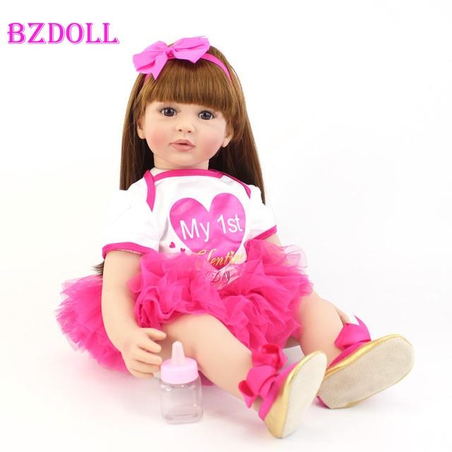 60cm Handmade Silicone Vinyl Reborn Doll Toy Like Real Baby Princess Toddler Babies Alive Bebe Girl