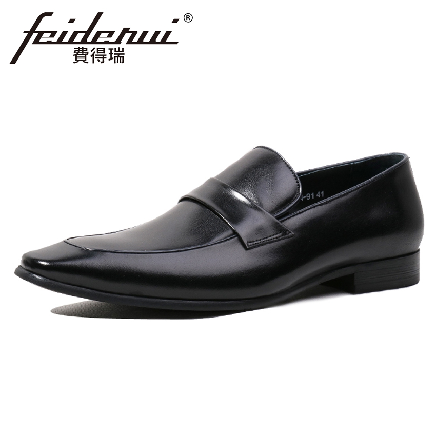 Italian Designer Men's Genuine Leather Comfortable Wedding Loafers Luxury Pointed Toe Slip on Handmade Man Casual Shoes HQS116 plus size pointed toe slip on man glitter punk loafers luxury genuine leather studded wedding party men s runway shoes sl31