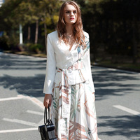 Autumn Office Lady Popular Runway Full Sleeve V Neck Print Elegant Sashes Zipper Fly Ankle Length