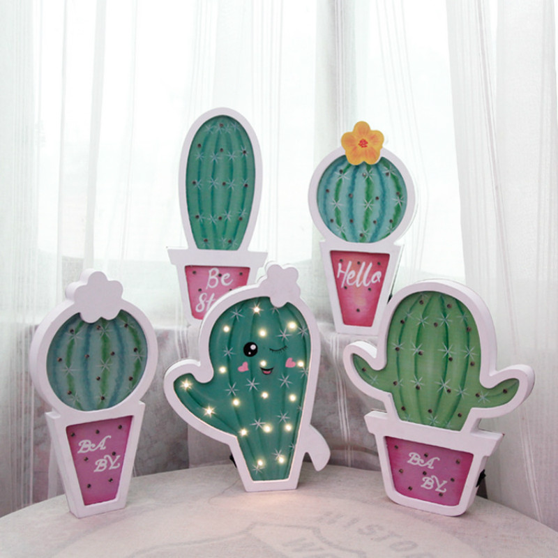 Cactus Night light Desk Decor LED Festival light Battery powered Holiday lighting Home Decoration lamp Wood lamp IY304123-39