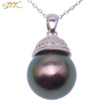 JYX 11,5mm Schwarz Tahitian Perle Anhänger Halskette Südsee Züchteten Anhänger in 925 Sterling Silber mit Zirkon 18 zoll