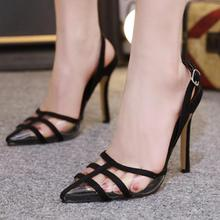 Fashion Summer Women Sandals Casual PU Buckle Strap Thin Heels 11CM Open Toed High Transparent Pumps