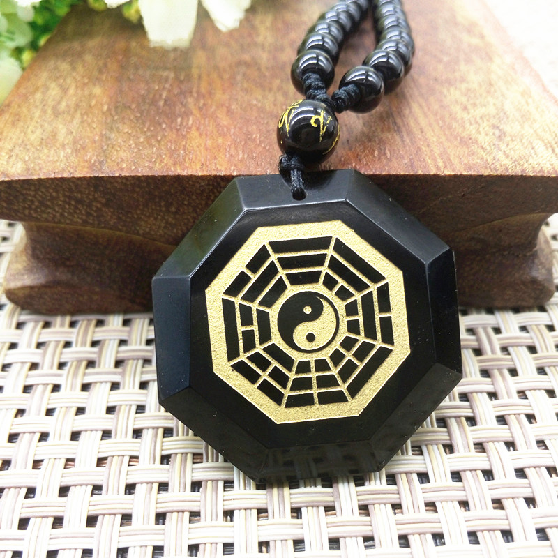 Drop Shipping Natural Black Obsidian Gossip Pendant The Universe Gold-plated Taiji Jewelry Charm Pendant Lucky Jewelry Gift