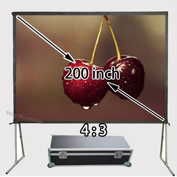 Perfect Screen 200 Inch Front Or Rear Projection Screens 4:3 Ratio Easy Install Best For House Night Movie Office School 180 16 9 fast fold front and rear projection screen back