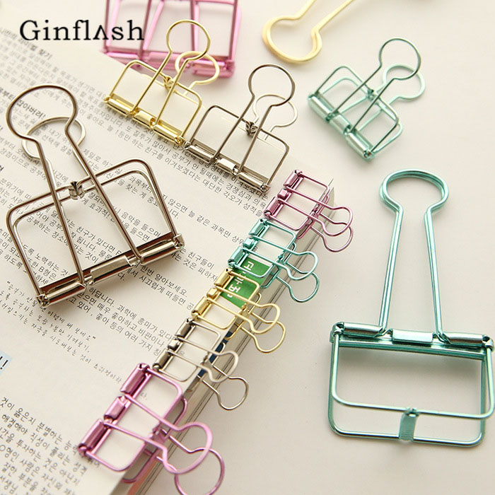 20 Pcs/1lot Cute Metal Binder Clips Clips Small Craft Photo Pegs Office Bookmarks Kawaii Stationery 8 Color Size 1.9*4cm