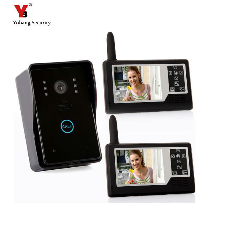Yobang Security freeship 2.4ghz 3.5 Wireless Video Door Phone Intercom Doorbell Home Security 1-camera 2 Monitors home doorbell