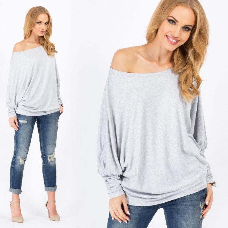 d8772d3d1caa8 T shirt Women Fashion Batwing Long Sleeve Cut Out Off Shoulder Tops  Asymmetric Hem Tee Loose T Shirts Fashion 2015 Women T shirt-in T-Shirts  from Women s ...