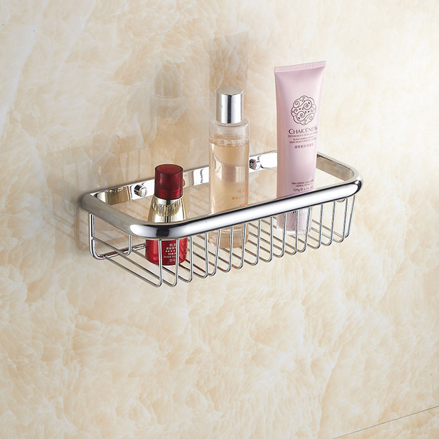 Newly US chrome Shower Caddy Basket Bathroom Commodity Shelf Brass ...
