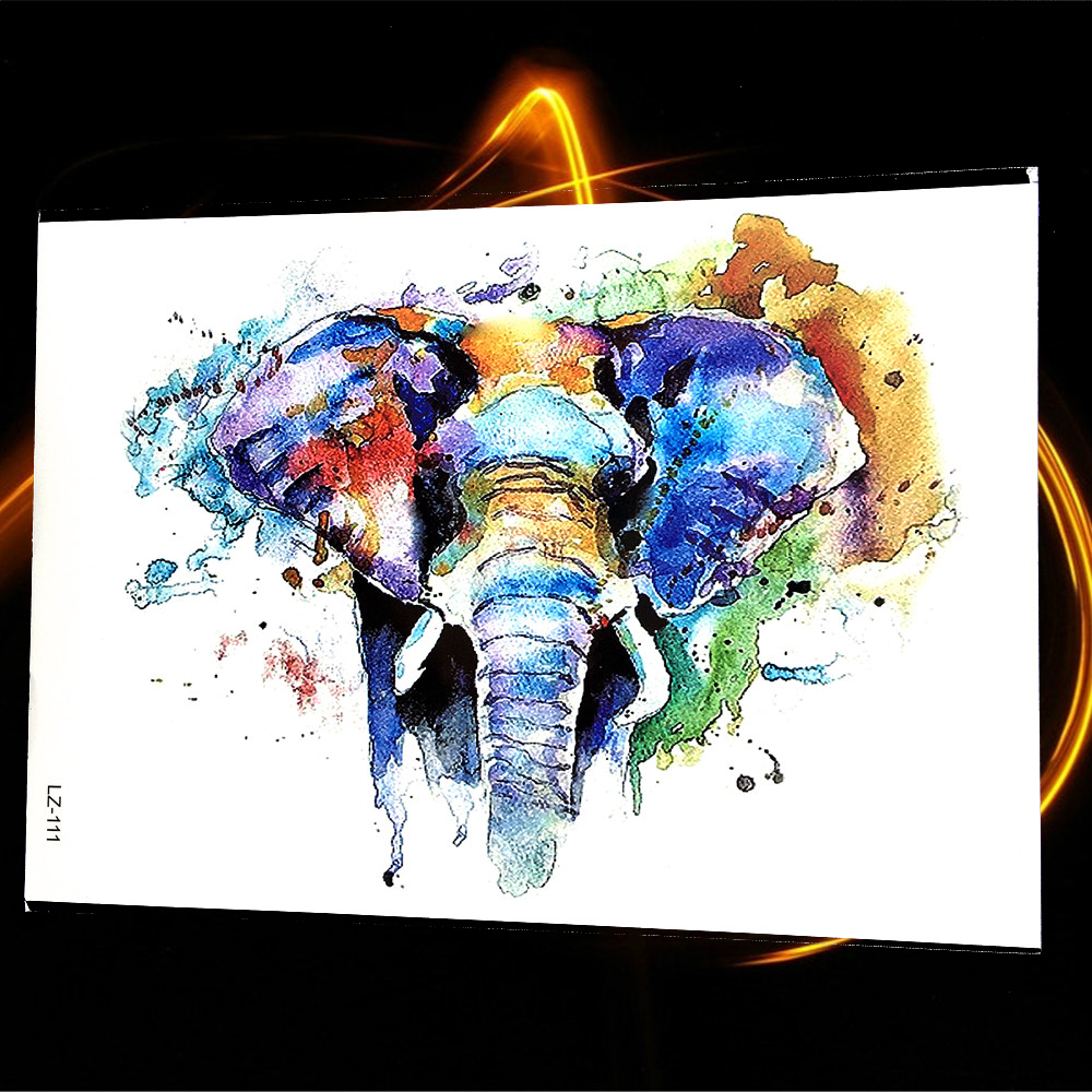 Water Color Painting Elephant Ganesha Temporary Tattoo Sticker Women Large Body Art Chest Back Waterproof Tattoo Henna Paste Men