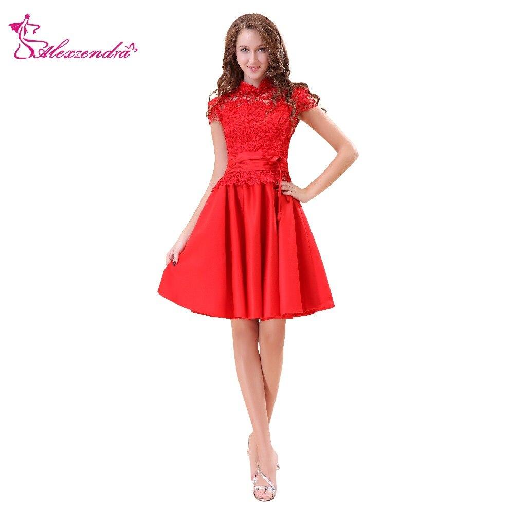 Alexzendra Red Satin Lace Elegant Knee Length A Line   Prom     Dresses   Simple Party   Dresses   Plus Size