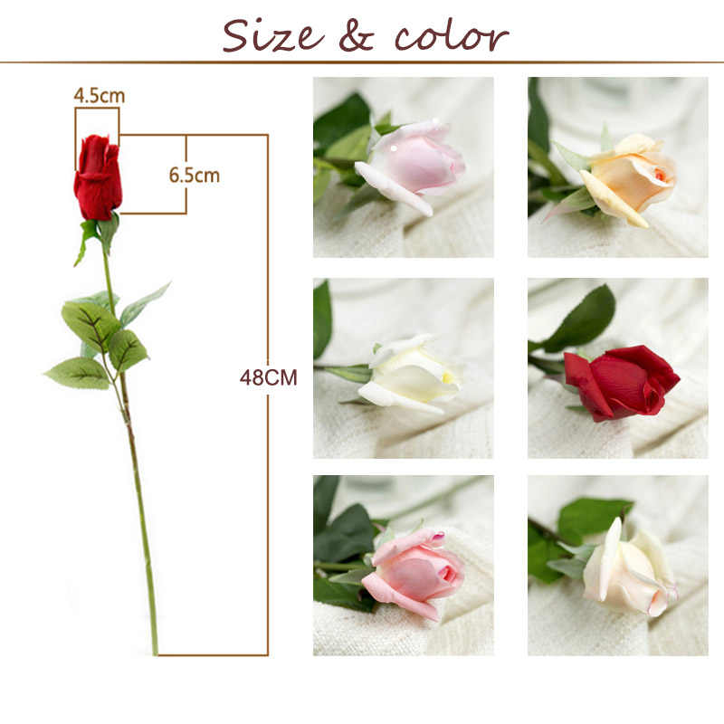7 Pcs Nyata Touch Cabang Batang Mawar Lateks Tangan Merasa Merasa Simulasi Dekoratif Buatan Silikon Rose Bunga Rumah Pernikahan