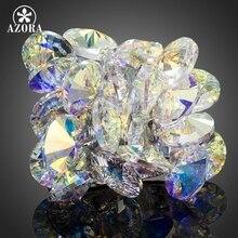 AZORA Fascinante Flor Diseño Con Gradiente de Color Stellux de Cristal Austriaco Anillo de medida Adaptable TR0133