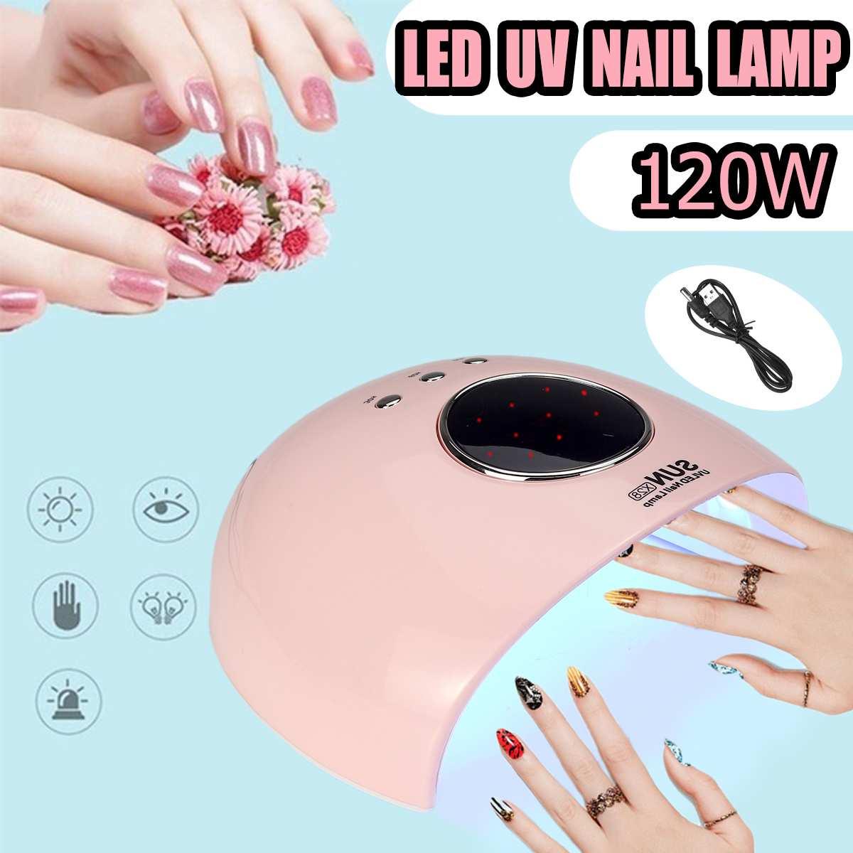 120W UV Lamp Led Nail Lamp Gel Nail Polish Curings Light Machine Nail Manicure Art LED Nail Dryer with Sensor USB Charge Nail