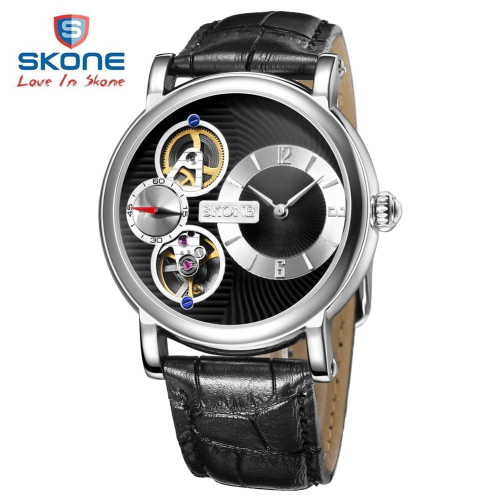 ФОТО SKONE Skeleton Dress Watch Men Top Brand Luxury Leather Mens Automatic Watches Relogio Masculino Reloj Hombre Montre Homme XFCS
