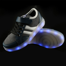 Kids LED Shoes USB Charging Light Up For Boys Children Casual Sneakers Fashion Sport Shoes LGA020 Free Shipping