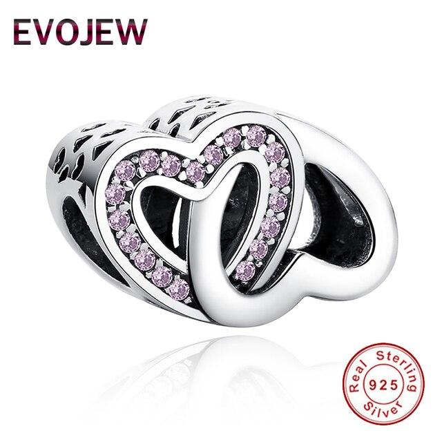 4df99d0b2 100% Authentic 925 Sterling Silver Entwined Love Charm Beads Fit Original  Pandora Bracelet Luxury DIY Interlocked Hearts Jewelry