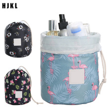 цены HJKL Hot Sale Round Waterproof Makeup Bag For Women Ladies Box Neceser Travel Cosmetic bag Organizer Toiletry Makeup Bags