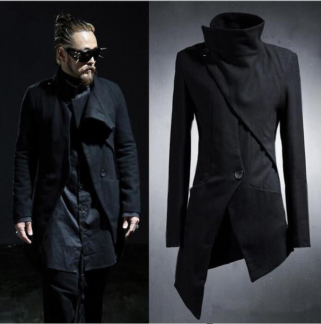 2017 de Corea Del Harajuku Irregular Gótico Punky Diseñador hombres Abrigo Largo Negro Mens Trench Coat de Los Hombres Slim Fit Chaqueta Rompevientos