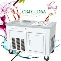 110 V-220 V commerciële gebakken ijs machine gebakken yoghurt machine gebakken melk roll machine een enkele pot met koud opbergkast
