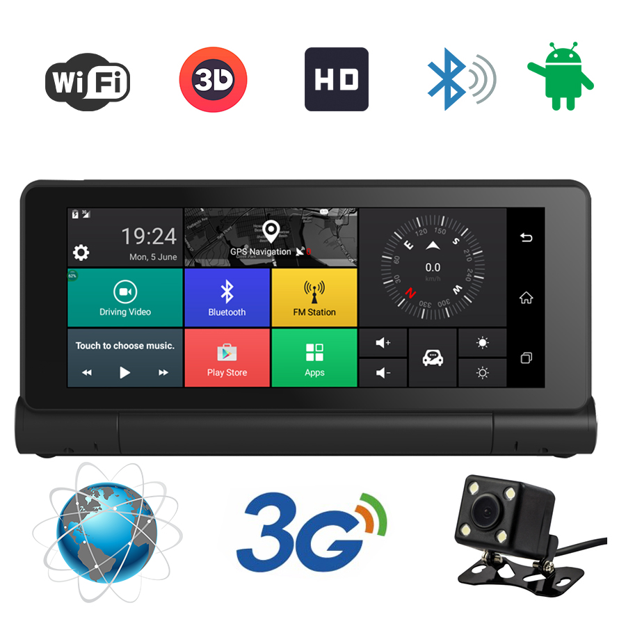 3G 7 Inch Car GPS Navigation Bluetooth Android 5 0 Navigators Dual Lens Av In DVR